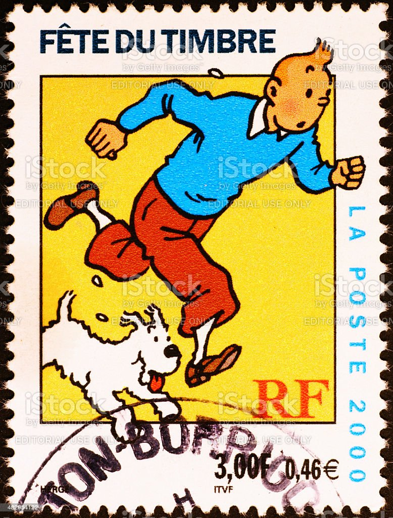 Comic book character Tintin on french postage stamp stock photo
