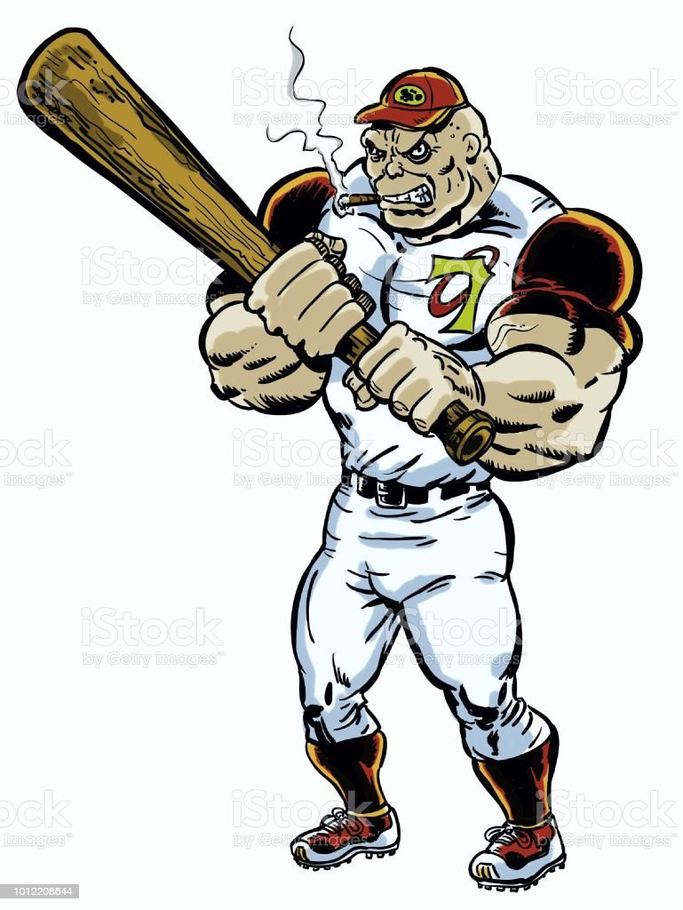 Comic book illustrated baseball player villain character in action pose stock photo