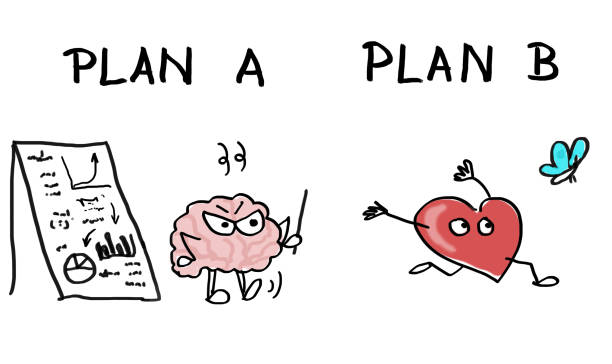comic - conflict between heart and brain - plan a or plan b - row of heads stock photos and pictures