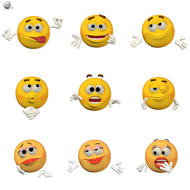 comic emoticon set - sad cartoon images stock photos and pictures