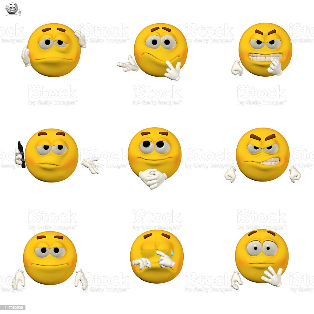 comic emoticon set stock photo