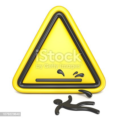 istock Comic funny wet floor sign with falling man 3D 1079329640