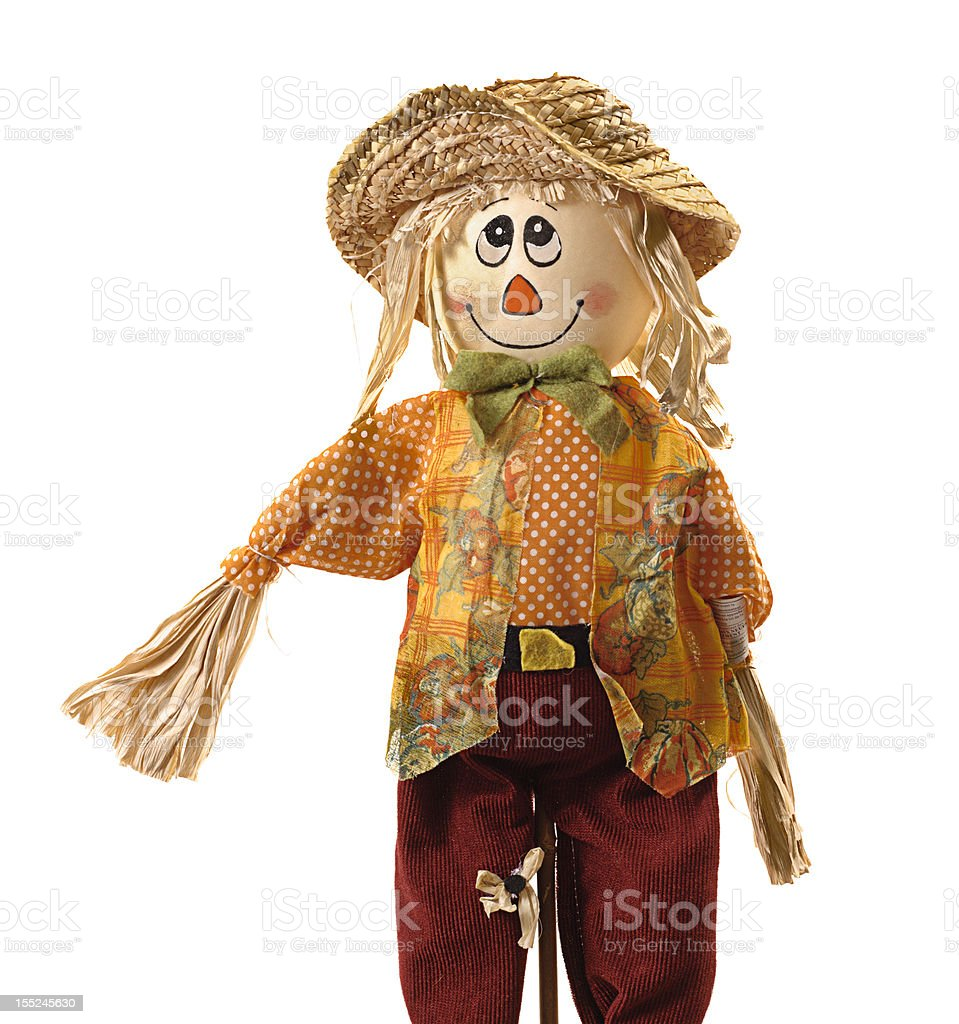 Comic scarecrow isolated on white royalty-free stock photo