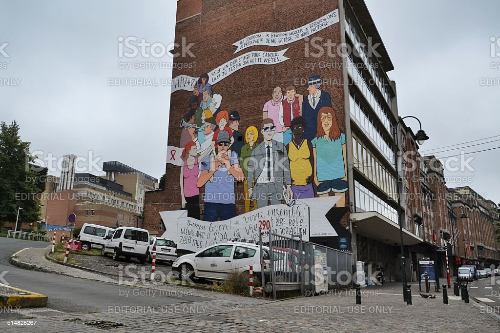 Comic strip mural painting in Brussels, Belgium stock photo