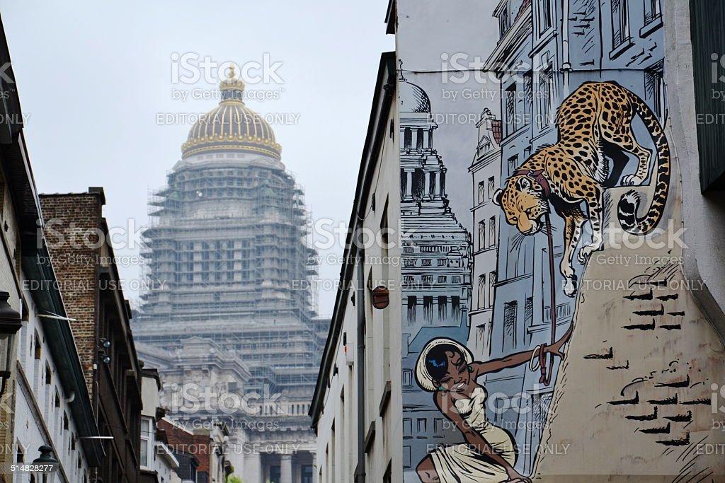 Comic strip-Wandgemälde Gemälde in Brüssel, Belgien – Foto