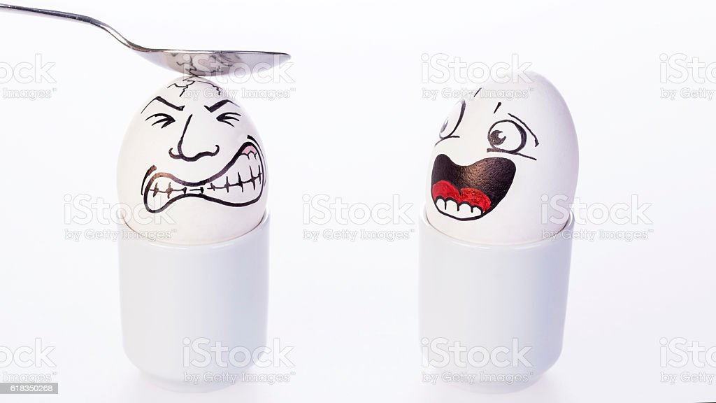 Comical egghead with scared expression stock photo