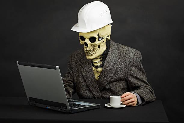 comical man in helmet and skeleton mask with computer - coffe with death bildbanksfoton och bilder