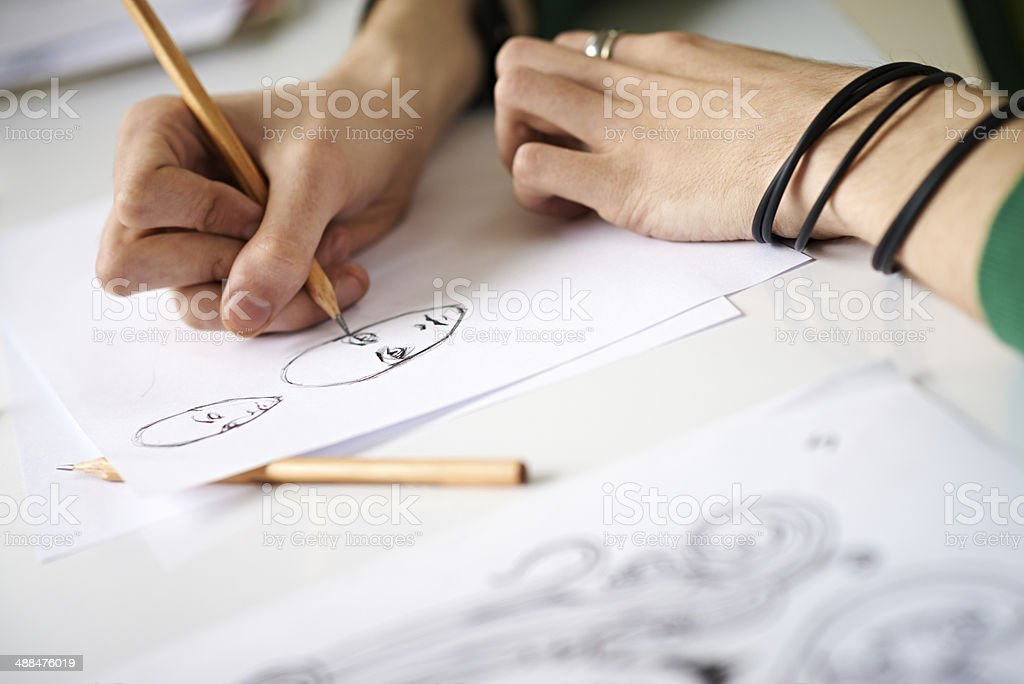 Comics artist's hands stock photo