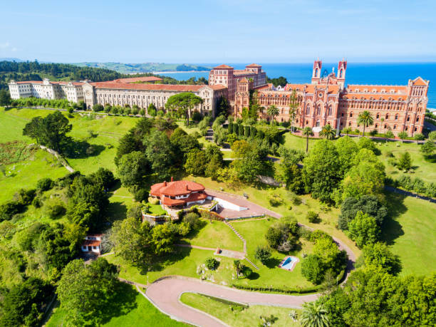 Comillas Pontifical University, Spain University Center or Comillas Pontifical University or Universidad Pontificia is a private university in Comillas, Spain cantabria stock pictures, royalty-free photos & images