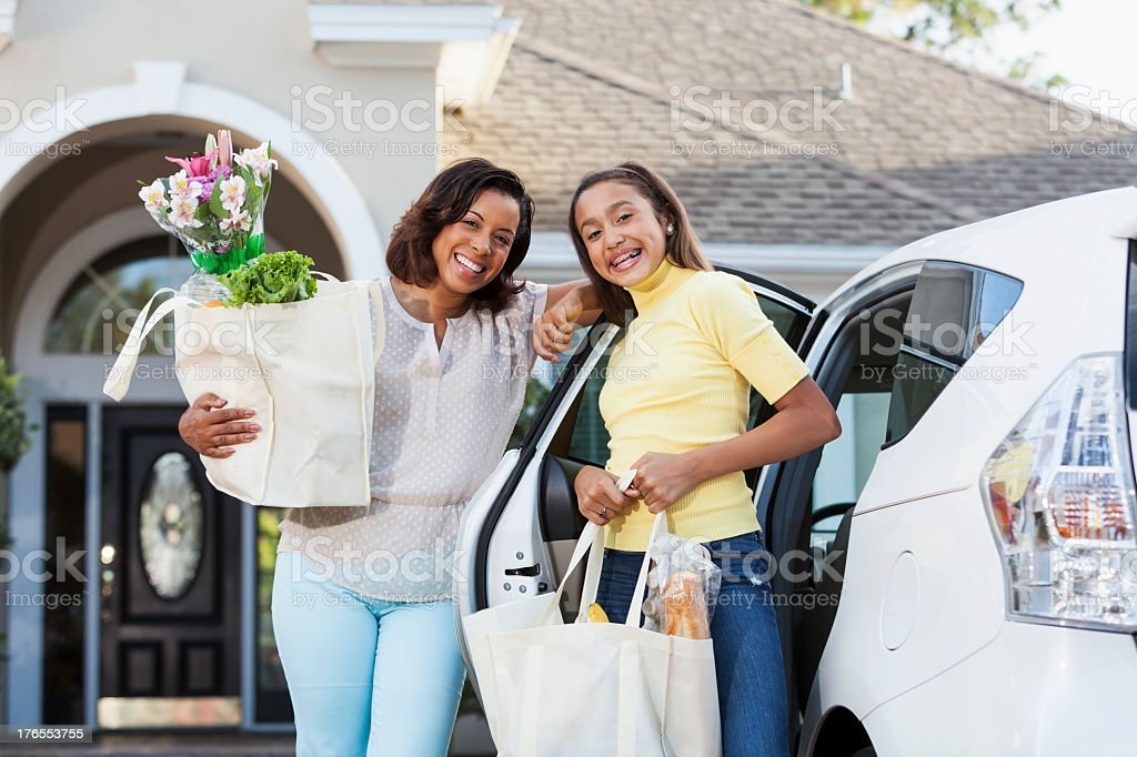 Coming home from grocery store royalty-free stock photo