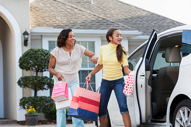 Coming home from shopping trip stock photo