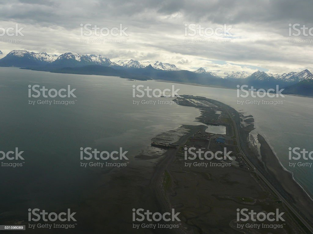 Coming in for a landing on Homer Spit, Alaska stock photo