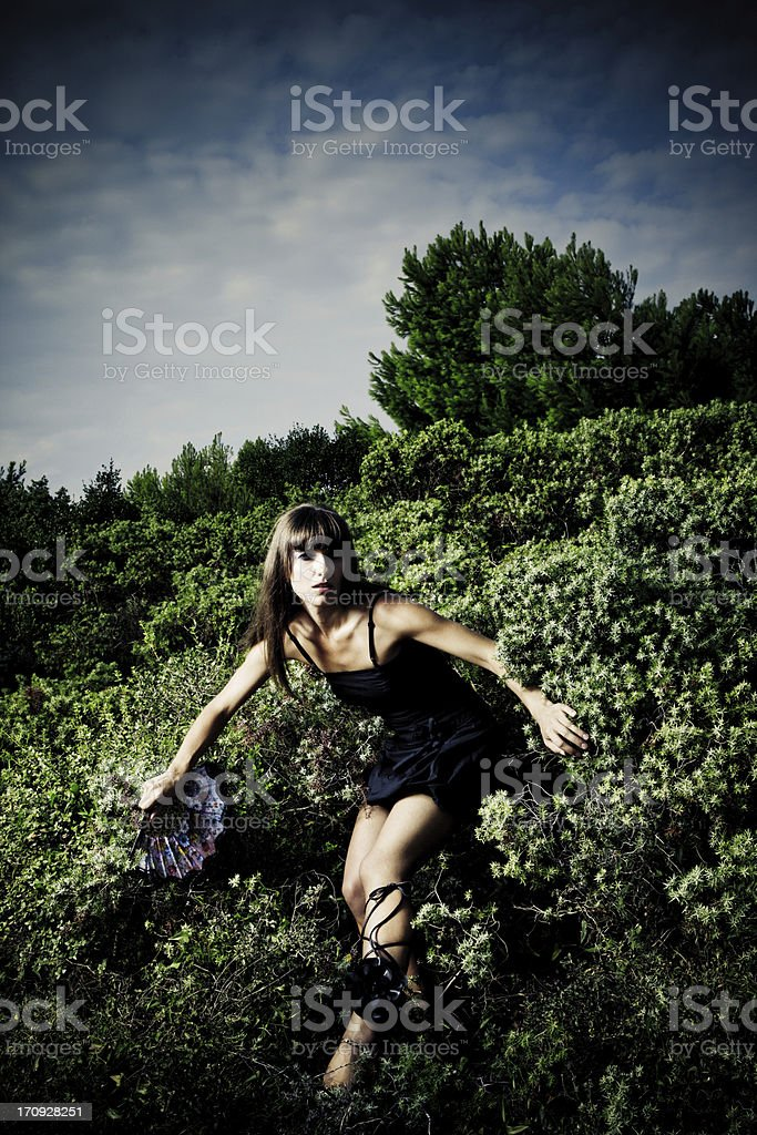 Coming out of the bushes stock photo