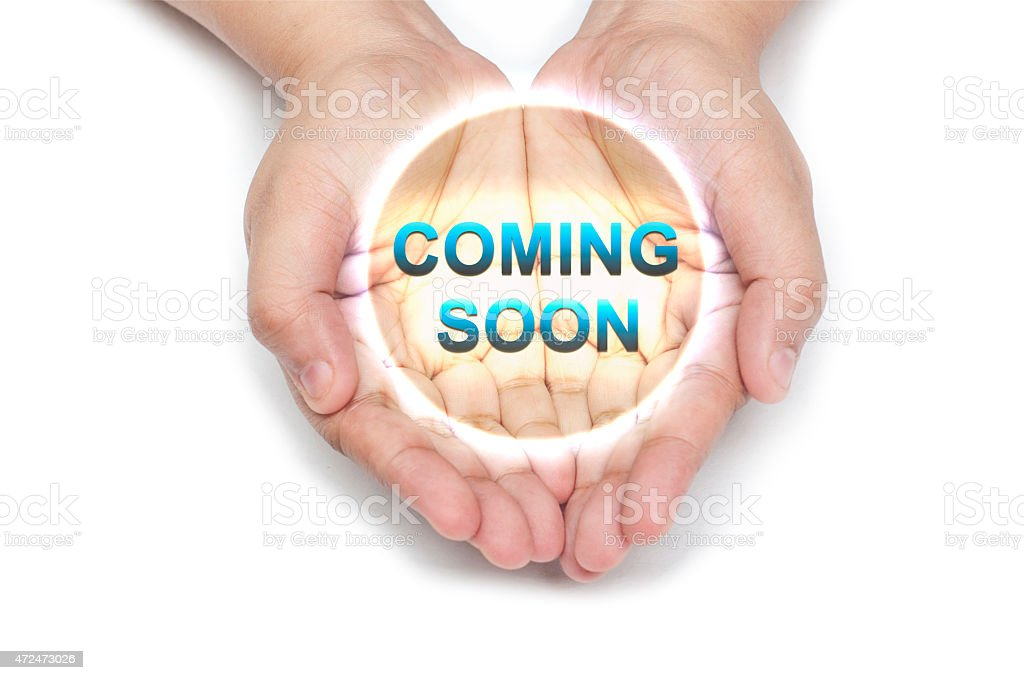 Coming Soon - incoming - Hand Series stock photo