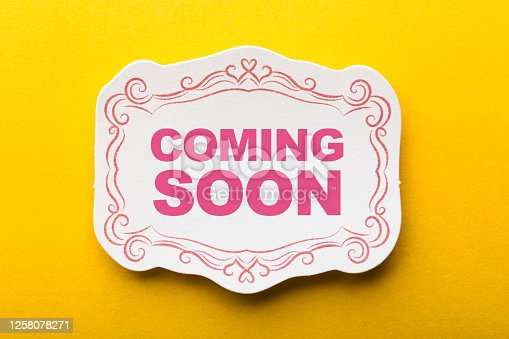 843847560 istock photo Coming Soon Label On Yellow Background 1258078271