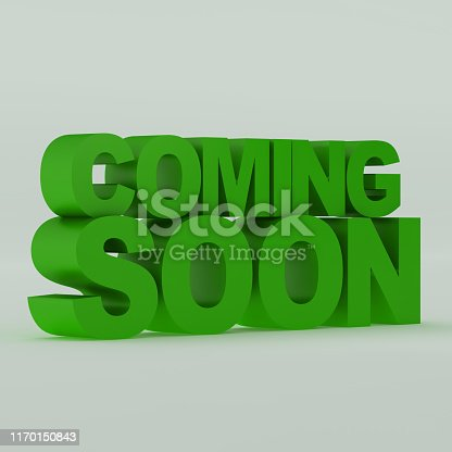 istock Coming soon message 3D rendering 1170150843