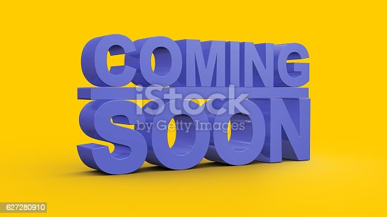 istock Coming soon message 3D rendering 627280910
