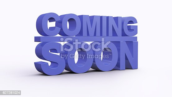 istock Coming soon message 3D rendering 627281024
