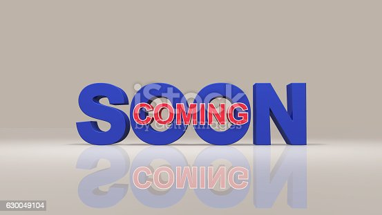 istock Coming soon message 3D rendering 630049104