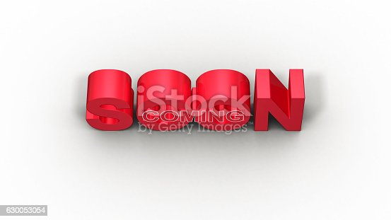 istock Coming soon message 3D rendering 630053054