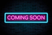 istock Coming soon neon sign the banner, shining light signboard collection. 1332167985