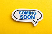 istock Coming Soon Speech Bubble Isolated On Yellow Background 1129764990