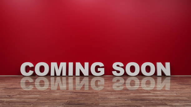 Coming Soon Text on Wooden Floor Against Wall 3d rendering