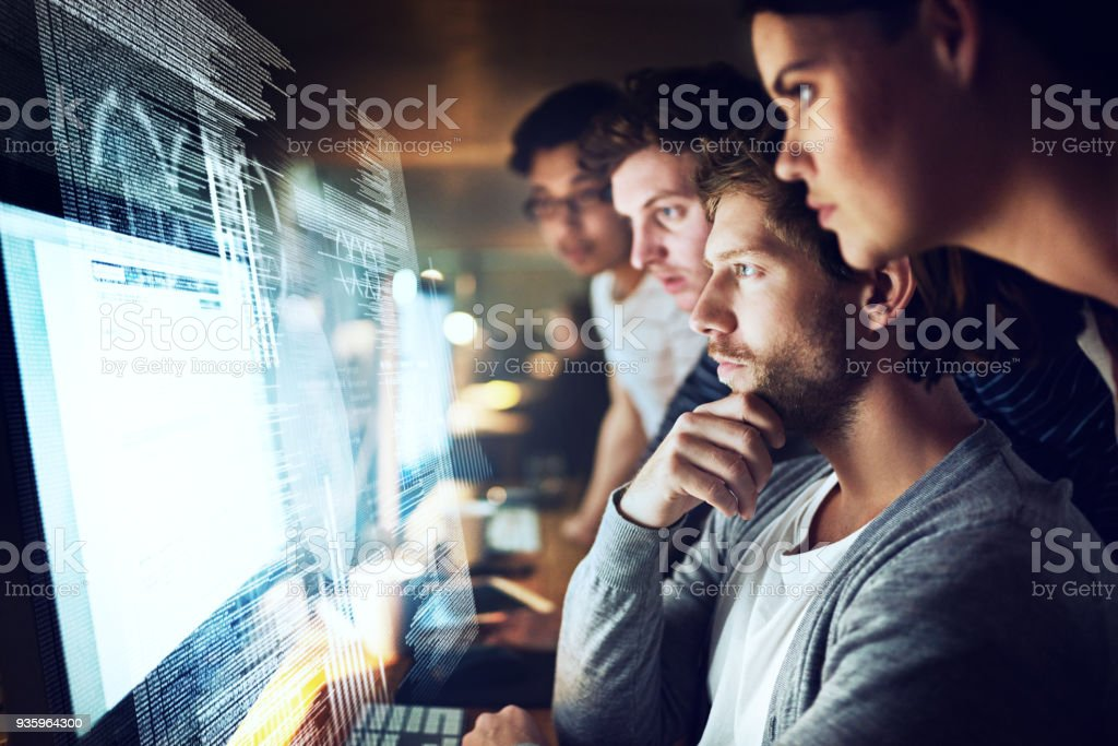 Coming up with a logical and functional code stock photo