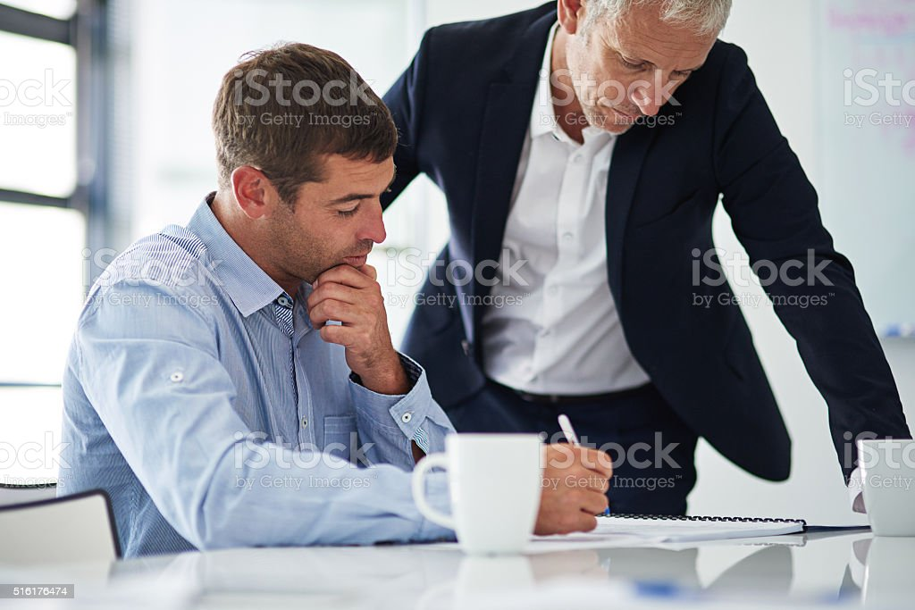 Coming up with a plan of action stock photo