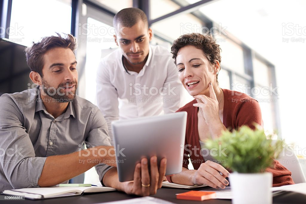 Coming up with brilliant ideas together stock photo