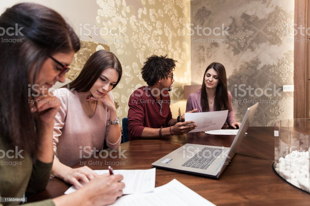 Coming Up With Solutions With the Team stock photo