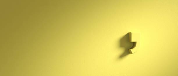 komma-markierung auf gelbe wand hintergrund, banner, textfreiraum. 3d illustration - komma stock-fotos und bilder