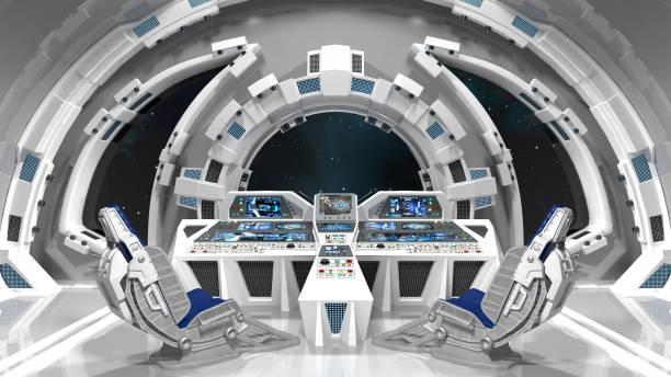salle de commande. intérieur blanc. - vaisseau spatial photos et images de collection