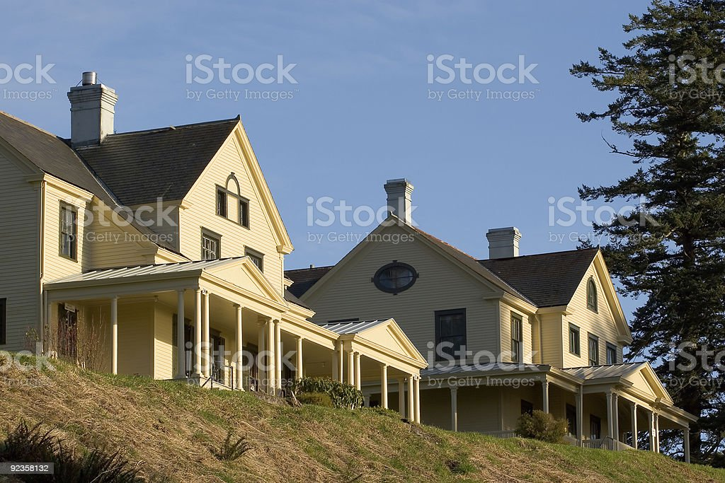 Commander's House and Officers Quarters, Fort Columbia stock photo