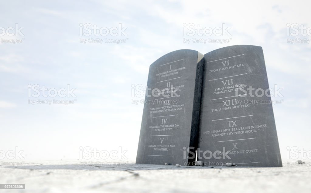 10 Commandments In Desert stock photo