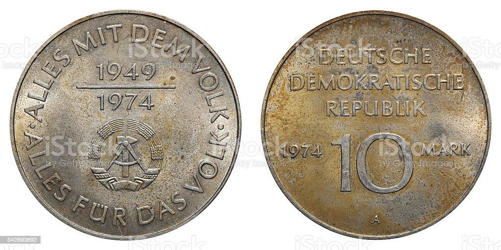 Commemorative coin of the German Democratic Republic stock photo