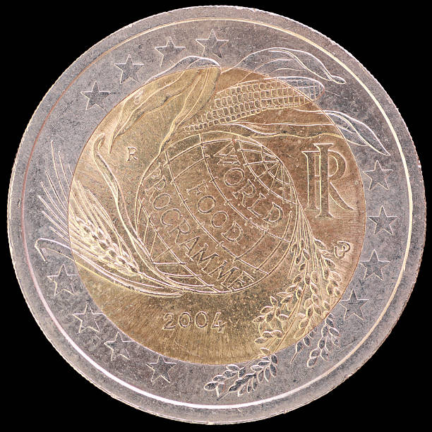 Commemorative Two Euro Coin Celebrating World Food Programme Italy 2004 Stock Photo More Pictures Of 2004 Istock