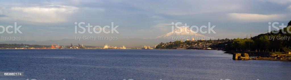 Commencement Bay Panoramic Puget Sound Tacoma Washington Mout Rainier stock photo