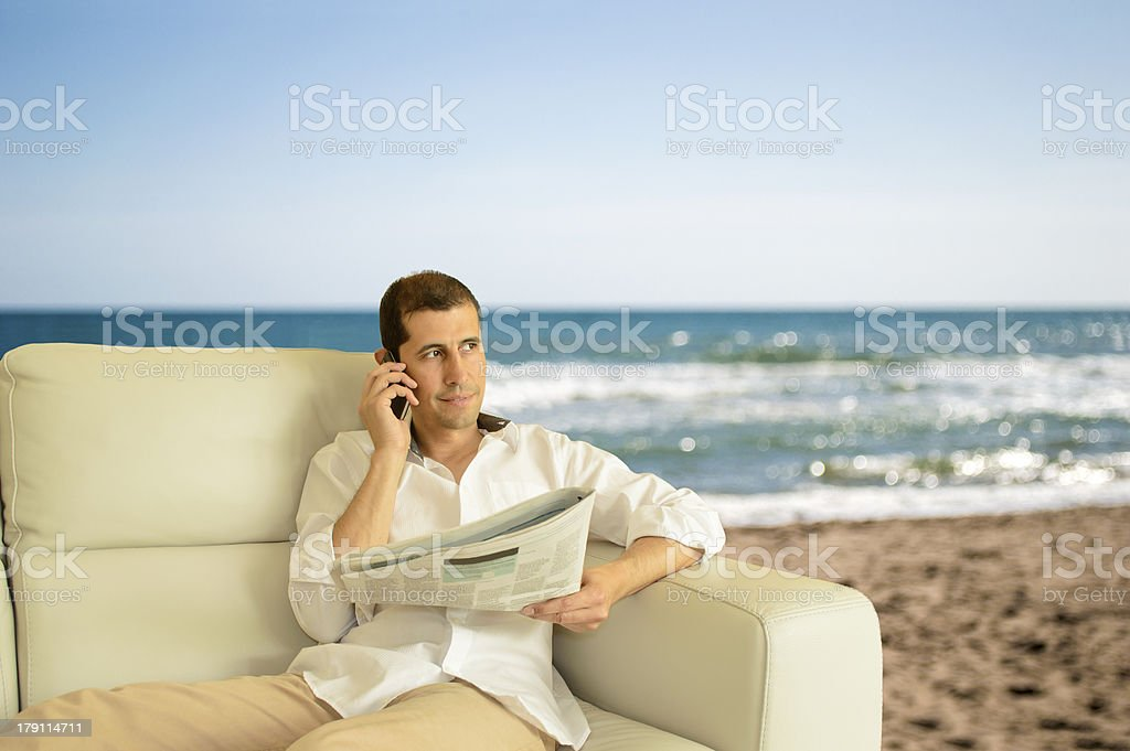 commenting economy news at the chill out royalty-free stock photo