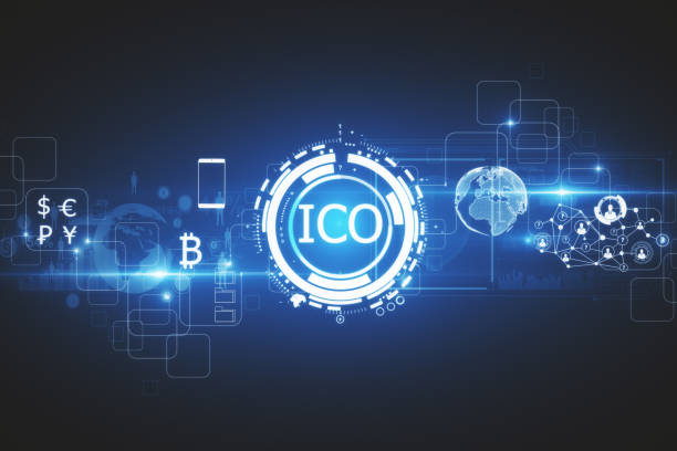 Commerce concept Abstract glowing digital currency button ICO initial coin offering on virtual digital electronic user interface. Commerce concept. 3D Rendering initial coin offering stock pictures, royalty-free photos & images