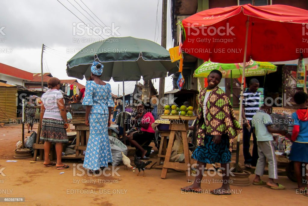 Commerce in the street in Lagos, Nigeria stock photo