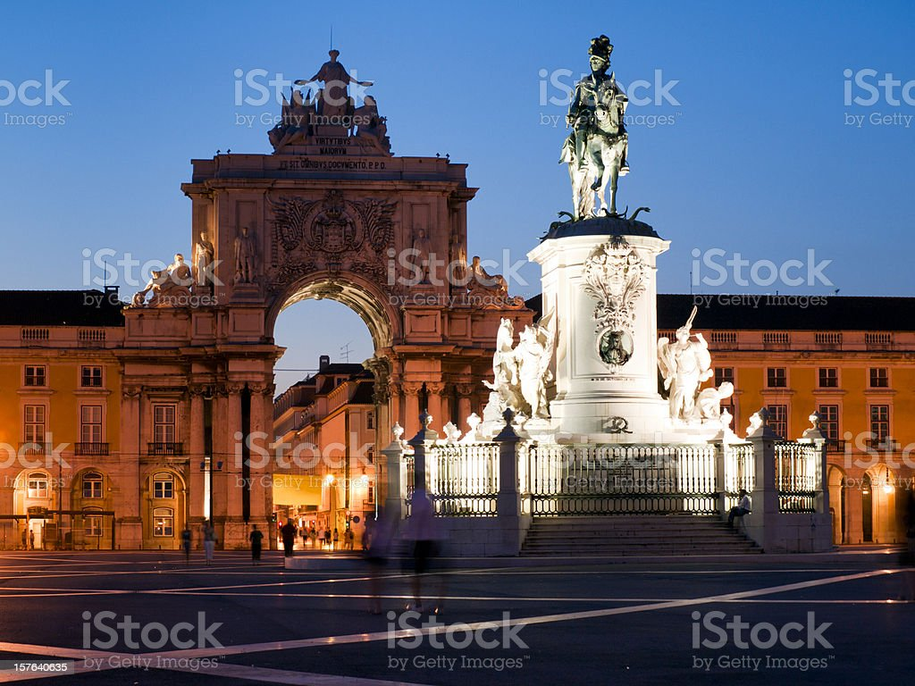 Commerce Square Lisbon by Night stock photo