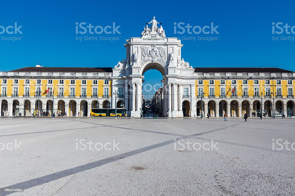 Commerce square,  Rua Augusta Arch. stock photo