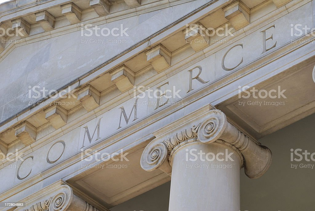 Commerce stone building sign royalty-free stock photo