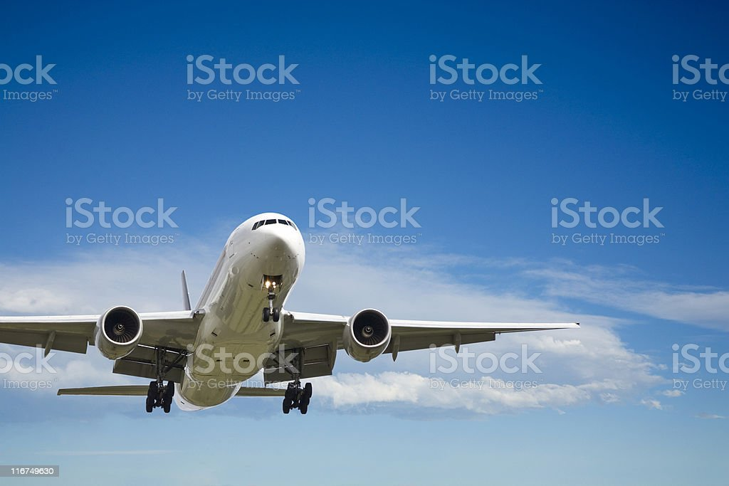 Commercial Aircraft  Coming In To Land stock photo