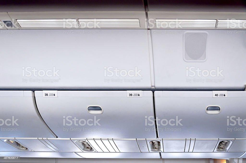 Commercial aircraft interior stock photo