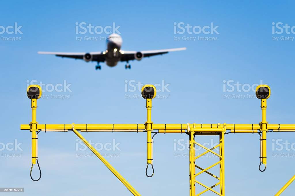 Commercial Aircraft With Landing Lights Stock Photo & More Pictures