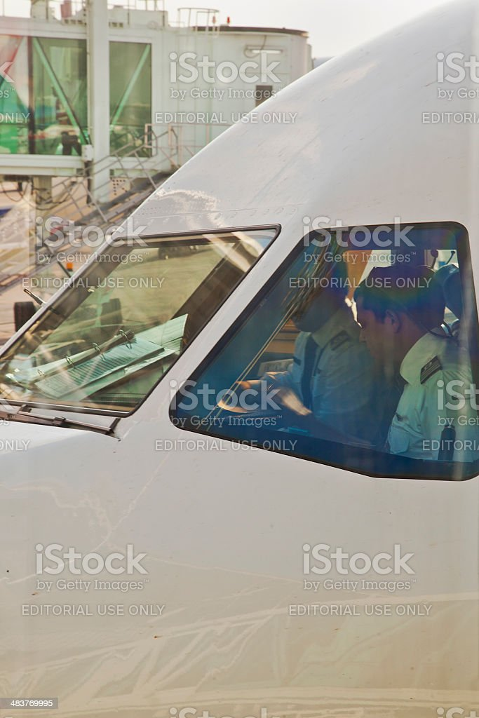 Commercial Airline preflight check stock photo