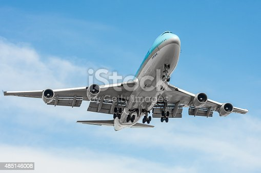Commercial airliner Boeing B747 Jumbo approaching the airport.