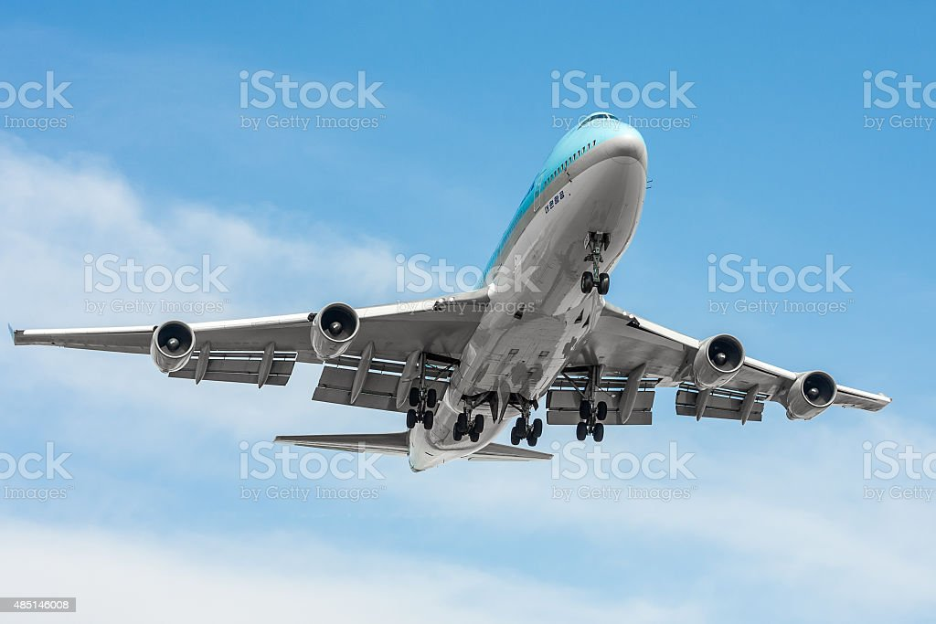 Commercial airliner approaching the airport stock photo